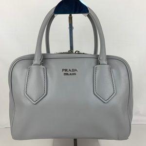 New Prada Italian Calf Leather Gray Bauletto Bag